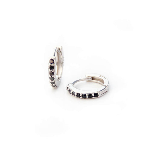 Sterling Silver Hoop Earrings with Black Zircons