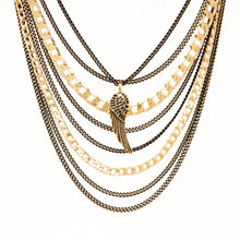 Wing Necklace - Black & Gold Plated
