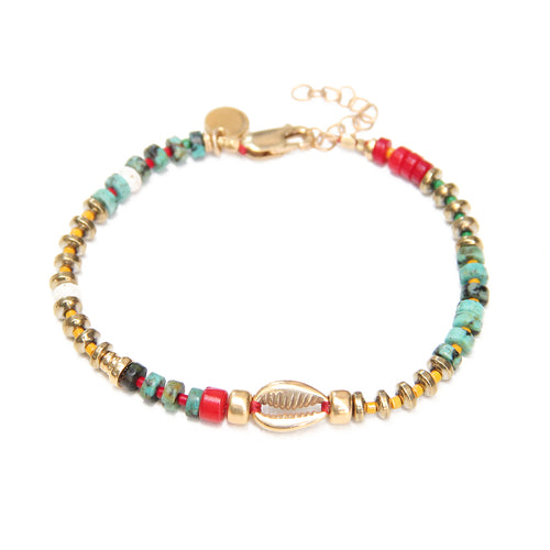 Niky Bracelet - Red, Turquoise, Yellow & Gold Plated