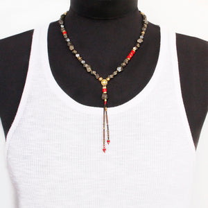 Pyrite Necklace - Red & Gold Plated