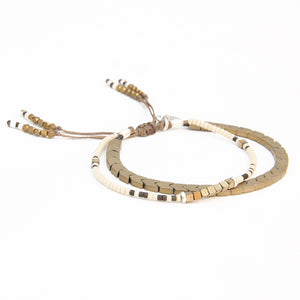 Tribe Bracelet - Bronze, Cream, White & Sterling Silver
