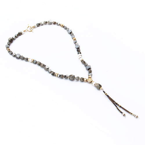 Pyrite Necklace - White & Gold Plated
