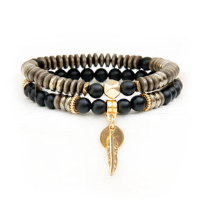 Mini Boho Bracelet - Bronze, Black & Gold Plated