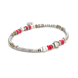 Sheryl Bracelet - Red & Silver Plated