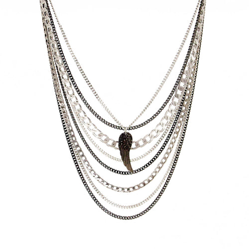 Wing Necklace - Black & Silver Plated