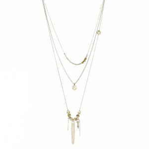 Boho Necklace -Thin brass chains mixed