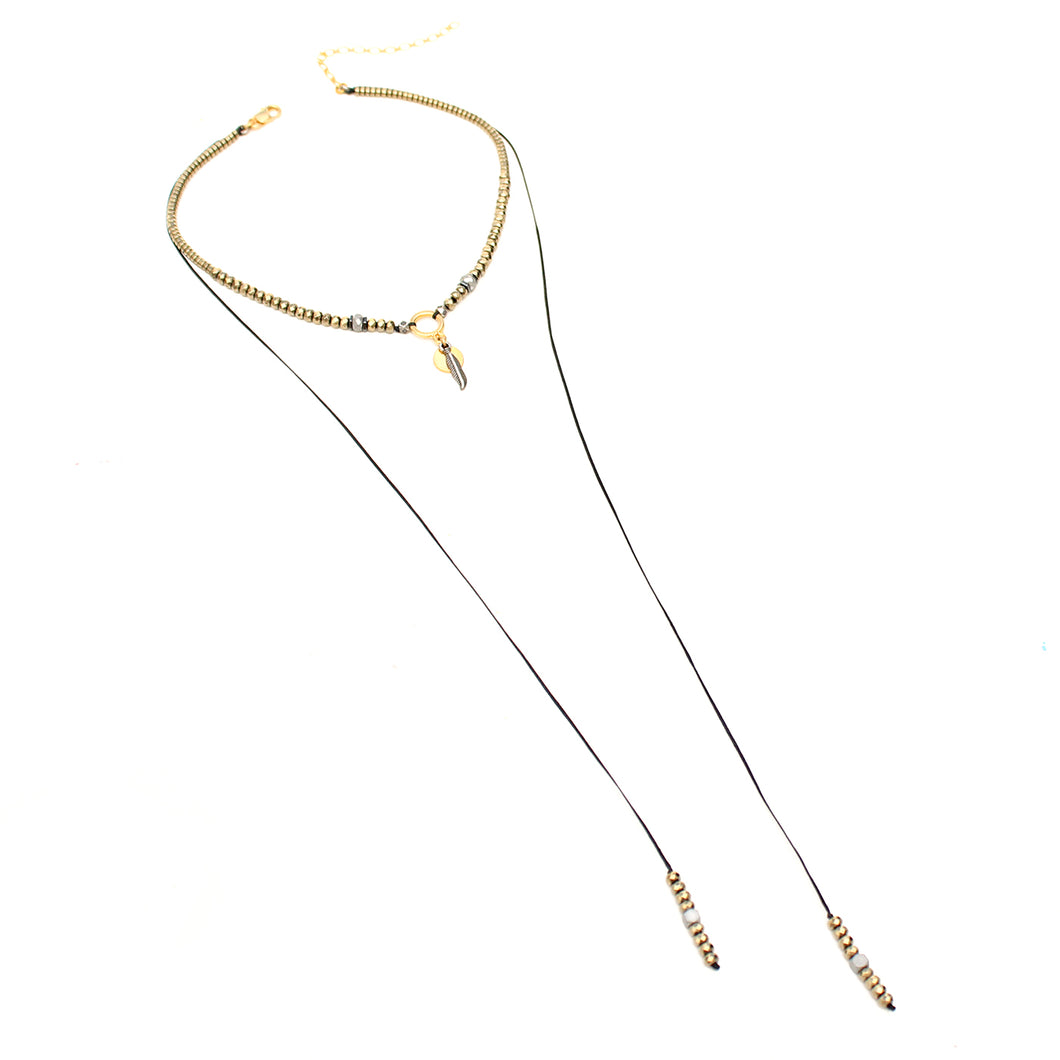 Hematite Choker Necklace - Gold Plated & Silver Plated