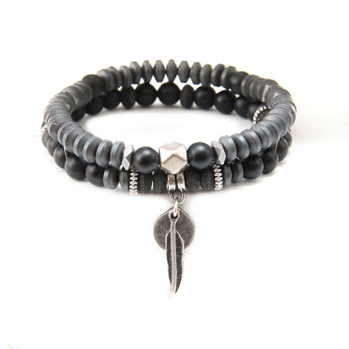 Mini Boho Bracelet - Black & Silver Plated