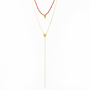 Rocky Necklace - Red & Gold Plated