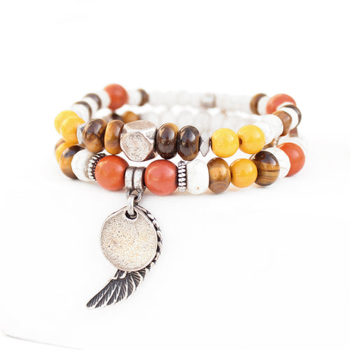 Mini Boho Bracelet - Orange, Yellow, White & Silver Plated
