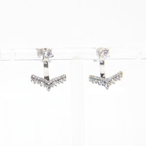 Anchor Zircons Earrings - Ear Jacket Earrings ,Sterling Silver