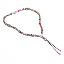 Pyrite Necklace - Red & Silver Plated