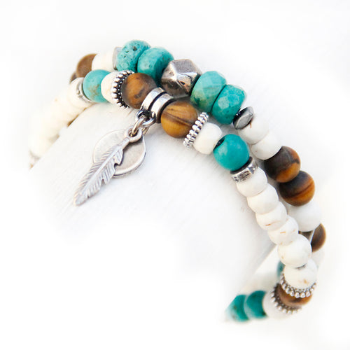 Mini Boho Bracelet - White, Brown, Howlite Turquoise & Silver Plated