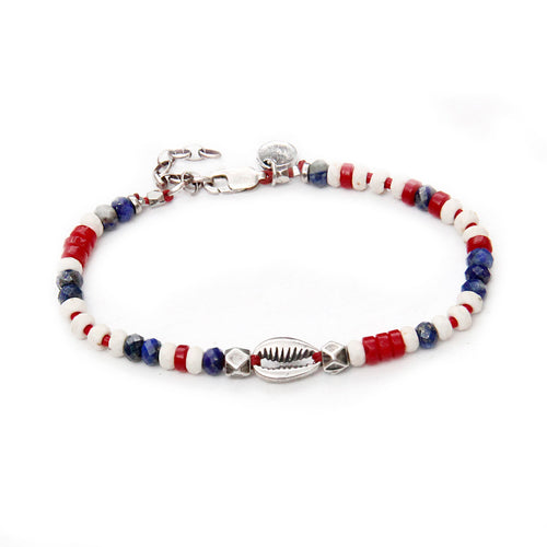 Niky Bracelet - Red, Blue & Silver