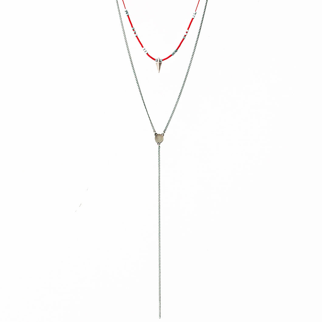 Rocky Necklace - Red & Silver Plated