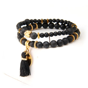Mini Boho Bracelet - Black & Gold Plated