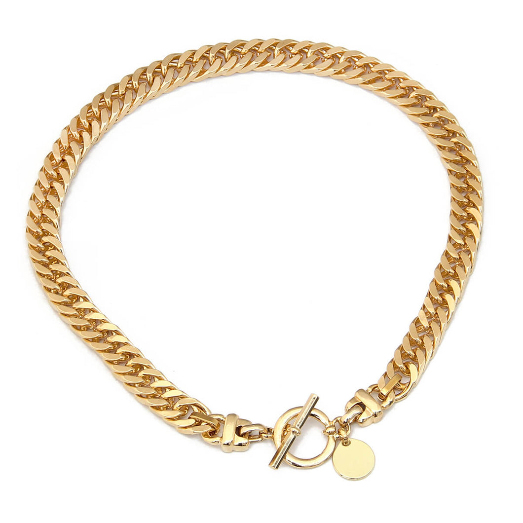 Classic T Clasp Curb Chain Necklace - Gold Plated
