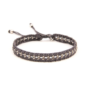 Crochet Bracelet - Men - Dark Grey & Silver Plated