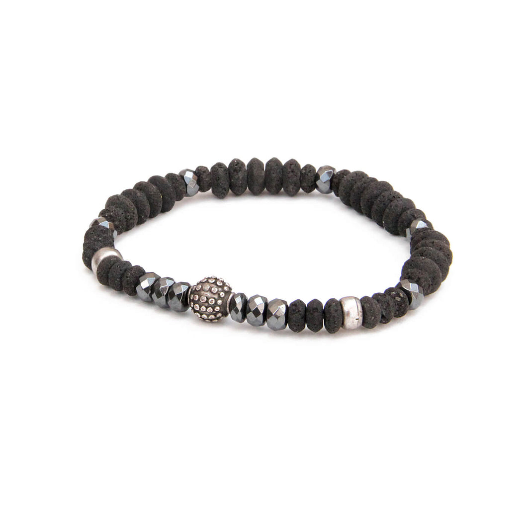 Johnny Bracelet - Men - Black & Silver Plated