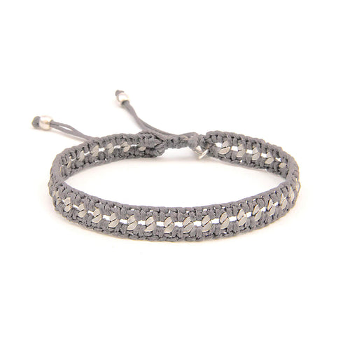 Crochet Bracelet - Men - Light Grey & Silver Plated