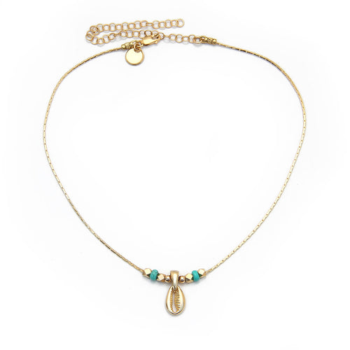 Acapulco Choker Necklace - Cream, Turquoise & Gold-filled