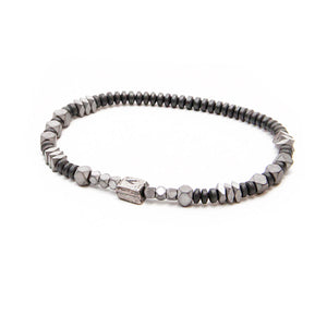 V Bracelet - Men - Black & Silver Plated