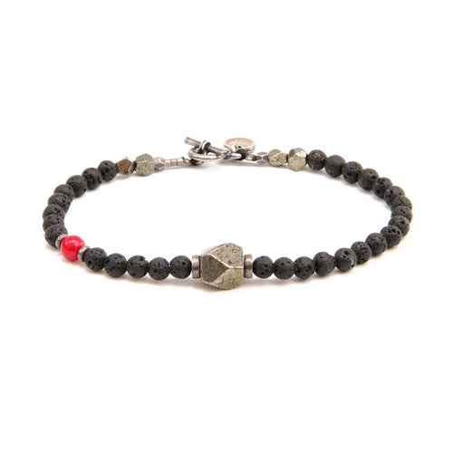 Lenny Bracelet - Men - Black, Red & Sterling Silver