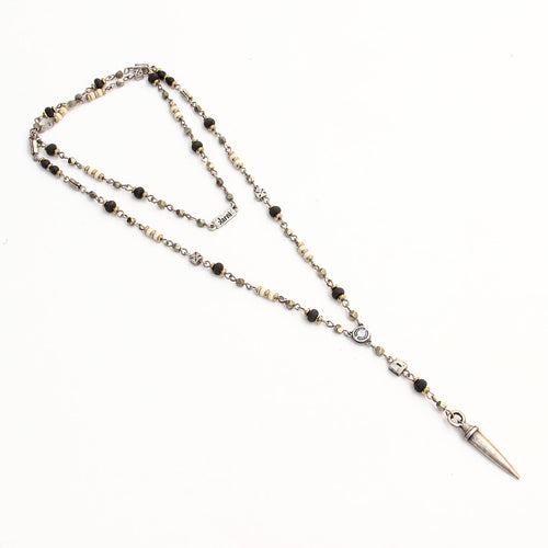 Rosary Necklace - Men - Black, White & Silver Plated