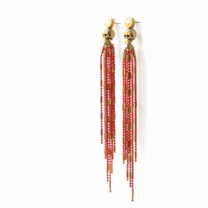 Skull Earring - Red & Gold