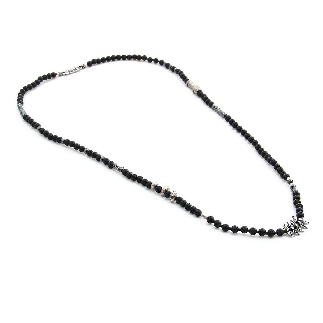 Lava Hematite Necklace - Men - Black & Silver Plated