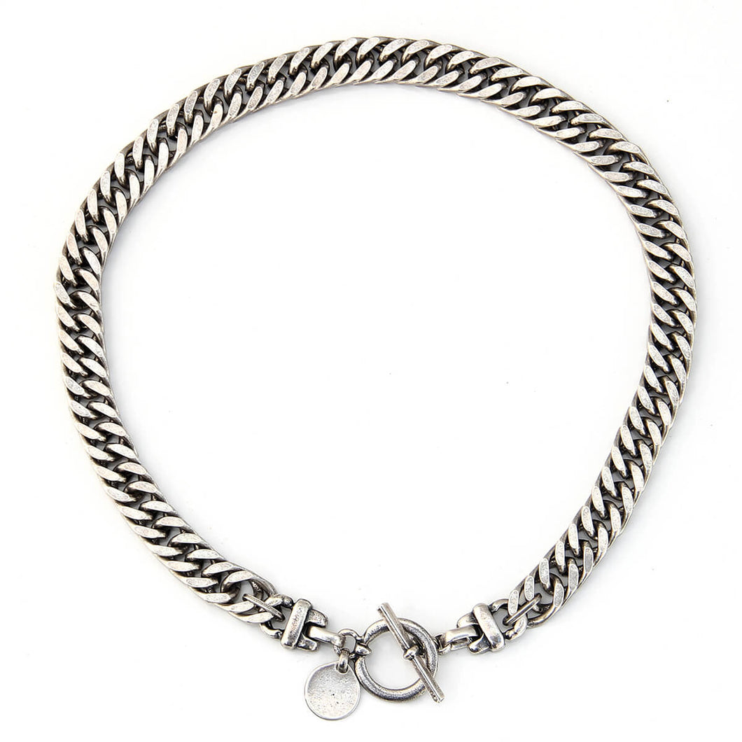 Classic T Clasp Curb Chain Necklace - Silver Plated