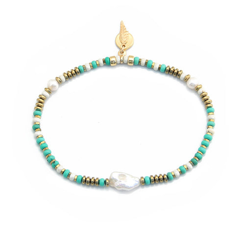 Cindy Anklet - Cream, Turquoise, Gold Plated