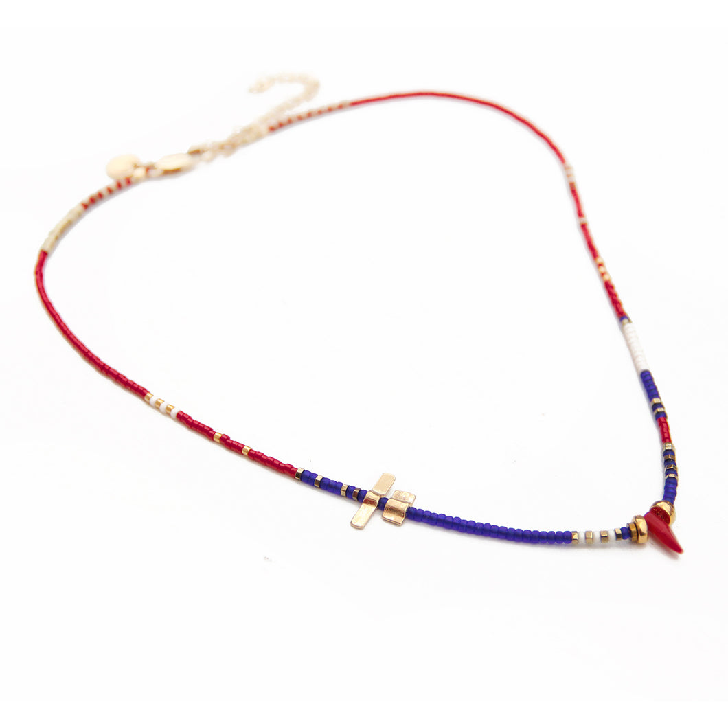 Noel Necklace - Blue, Red, White & Gold Plated