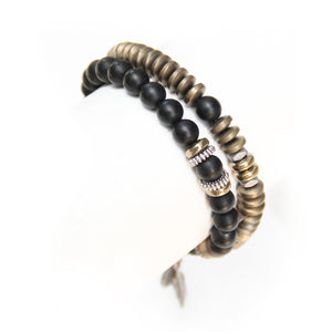 Mini Boho Bracelet - Bronze, Black & Silver Plated