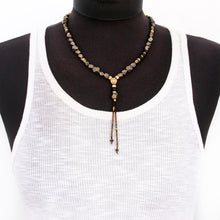 Pyrite Necklace - Black & Gold Plated
