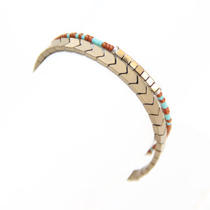 Tribe Bracelet - Bronze, Brown, Turquoise, Gold Plated & Sterling Silver