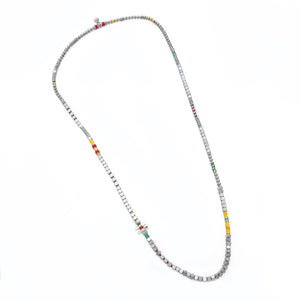 Tetris Necklace - Red, Yellow & Sterling Silver