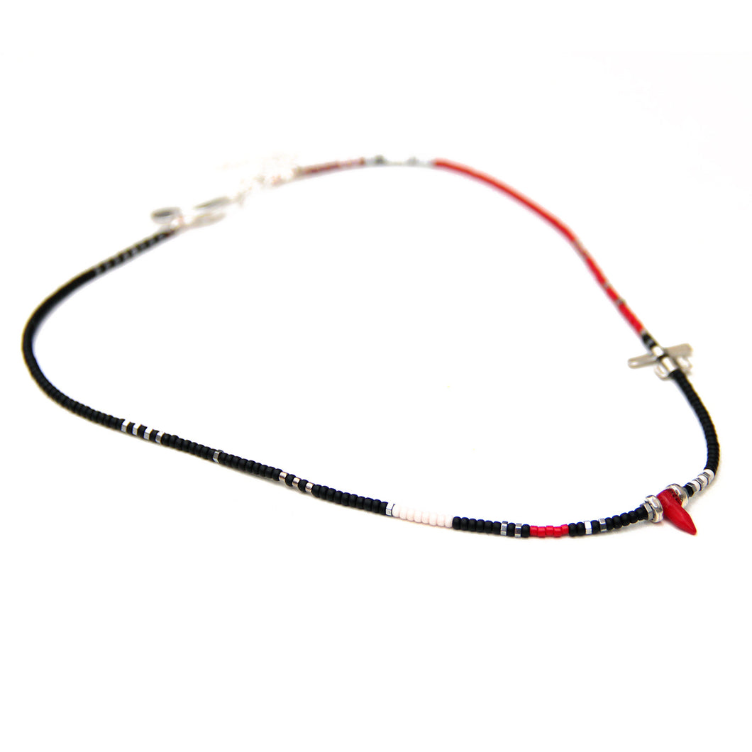 Noel Necklace - Black, Red, White & Sterling Silver