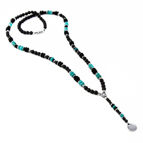 Boho Necklace - Black, Turquoise & Silver Plated