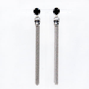Skull Earrings - Black & Silver
