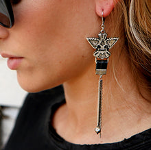 Wings & Leather Earrings - Silver Plated