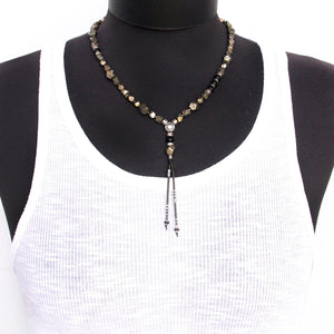 Pyrite Necklace - Black & Silver Plated