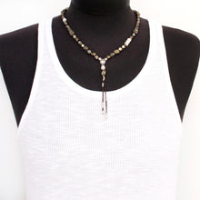 Pyrite Necklace - White & Silver Plated