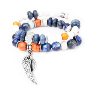 Boho Bracelet - White, Orange, Blue & Silver Plated (Wing)
