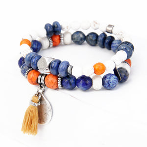 Boho Bracelet - White, Orange, Blue & Silver Plated (Tassel)