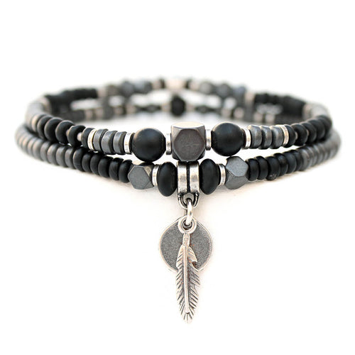 Mini Boho Bracelet - Men - Hematite, Black & Silver Plated