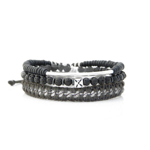 X Bracelet - Men - Black & Silver Plated
