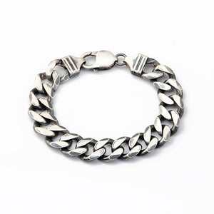 Thick Link Chain Bracelet - Sterling Silver