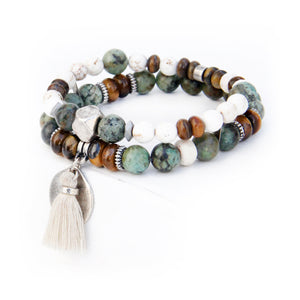 Boho Bracelet - White, African Turquoise, Brown & Silver Plated
