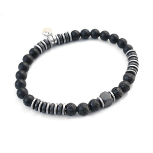 Freddie Bracelet - Men - Black & Silver Plated